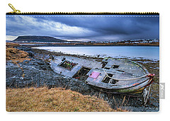 Old Wooden Ship On Beach Carry-all Pouch by Joe Belanger