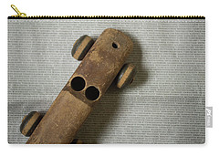 Carry-all Pouch featuring the photograph Old Wooden Toy Car Still Life by Edward Fielding