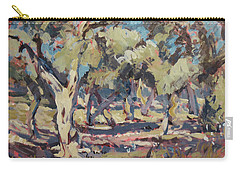 Carry-all Pouch featuring the painting Olive Grove Along Marmari Beach Paxos by Nop Briex