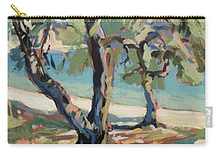 Carry-all Pouch featuring the painting Olive Trees Along Marmari Beach Paxos by Nop Briex