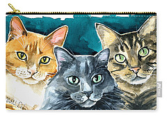 Oliver, Willow And Walter - Cat Painting Carry-all Pouch