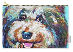 Carry-all Pouch featuring the painting Olivia, The Aussiedoodle by Robert Phelps