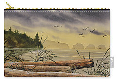 Carry-all Pouch featuring the painting Olympic Seashore Sunset by James Williamson