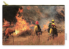 Carry-all Pouch featuring the photograph On The Fire Lines by Chris Tarpening