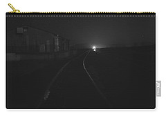 On The Tracks At Night Carry-all Pouch by Nature Macabre Photography