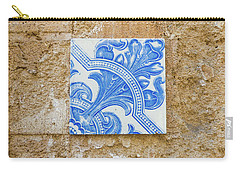 One Blue Vintage Tile  Carry-all Pouch