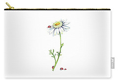 One Daisy And Four Ladybugs Carry-all Pouch by Heidi Kriel