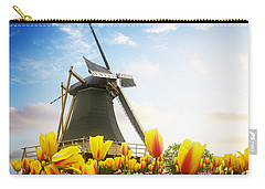 One Dutch Windmill Over  Tulips Carry-all Pouch