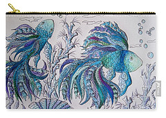 One Fish, Two Fish, Lilac Green And Blue Fish Carry-all Pouch