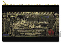 Carry-all Pouch featuring the digital art One U.s. Dollar Bill - 1896 Educational Series In Gold On Black  by Serge Averbukh
