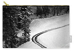 Carry-all Pouch featuring the photograph One Way - Winter In Switzerland by Susanne Van Hulst