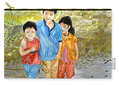 Carry-all Pouch featuring the painting Onion Farm Children Bali Indonesia by Melly Terpening