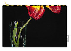 Open Red Tulip In Vase Carry-all Pouch by Helen Northcott