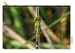 Carry-all Pouch featuring the photograph Openminded Green Dragonfly Art by Reid Callaway
