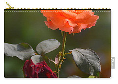 Orange And Black Rose Carry-all Pouch
