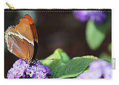 Orange And Brown Butterfly On Purple Carry-all Pouch