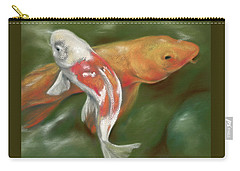Orange And White Koi With Mossy Stones Carry-all Pouch