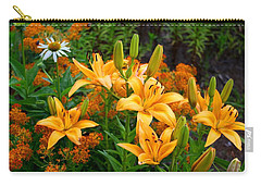 Carry-all Pouch featuring the photograph Orange Asiatic Lilies And Butterfly Weed by Kathryn Meyer