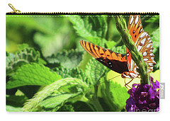 Orange Butterfly Green Leaves Carry-all Pouch