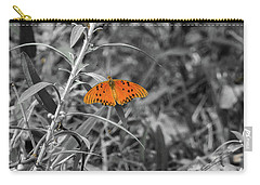 Orange Butterfly In Black And White Background Carry-all Pouch