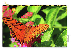 Orange Butterfy On Green Leaves And Pink Flowers Carry-all Pouch