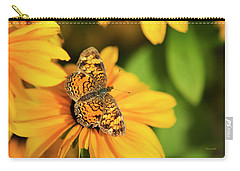 Carry-all Pouch featuring the photograph Orange Crescent Butterfly by Christina Rollo