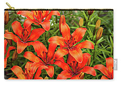 Carry-all Pouch featuring the photograph Orange Day Lillies by Mary Jo Allen