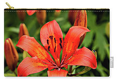 Carry-all Pouch featuring the photograph Orange Day Lilly Single by Mary Jo Allen