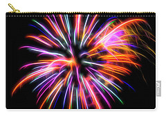Carry-all Pouch featuring the photograph Orange Fireworks by Yulia Kazansky