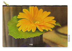 Orange Flowers Blue Vase Carry-all Pouch