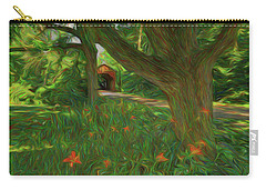 Orange Flowers Carry-all Pouch by Lewis Mann