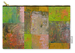 Carry-all Pouch featuring the painting Orange Green And Grey by Michelle Calkins