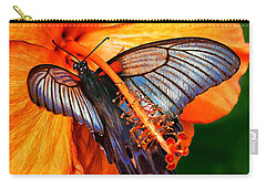 Orange Hibiscus Butterfly Carry-all Pouch by ABeautifulSky Photography