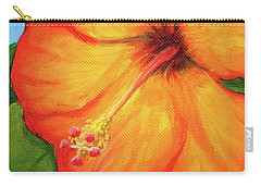 Orange Hibiscus Flower Carry-all Pouch