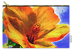 Carry-all Pouch featuring the digital art Orange Hibiscus by Kirt Tisdale