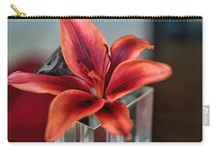 Carry-all Pouch featuring the photograph Orange Lilly And Her Companion Abstract by Diana Mary Sharpton
