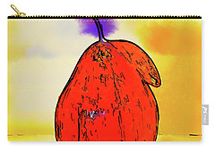 Carry-all Pouch featuring the digital art Orange Pear Watercolor by Kirt Tisdale