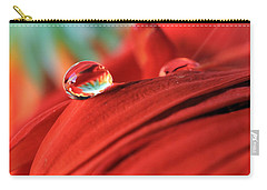 Orange Petals And Water Drops Carry-all Pouch