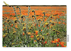 Carry-all Pouch featuring the mixed media Orange Poppies And Fiddleneck- Art By Linda Woods by Linda Woods