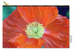 Orange Poppy Flower Carry-all Pouch by Haleh Mahbod