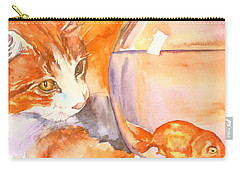 Orange Tabby With Goldfish Carry-all Pouch