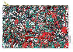Carry-all Pouch featuring the painting Orange Turquoise Drip Abstract by Genevieve Esson