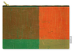 Orange With Brown And Teal Carry-all Pouch by Michelle Calkins