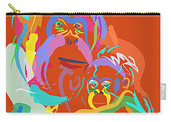 Orangutan Mom And Baby Carry-all Pouch by Go Van Kampen
