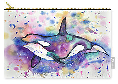 Carry-all Pouch featuring the painting Orca by Zaira Dzhaubaeva