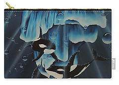 Carry-all Pouch featuring the painting Orcas Versus Glacier by Dianna Lewis