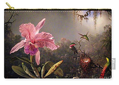 Orchid And Three Brazilian Hummingbirds Carry-all Pouch by Pg Reproductions
