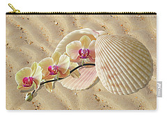 Orchids And Shells On The Beach Carry-all Pouch by Gill Billington