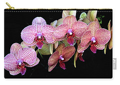 Orchids On Black Carry-all Pouch by Rosalie Scanlon