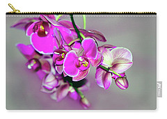 Carry-all Pouch featuring the photograph Orchids On Gray by Ann Bridges